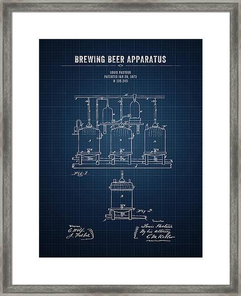 1873 Brewing Beer Apparatus - Dark Blue Blueprint Framed Print