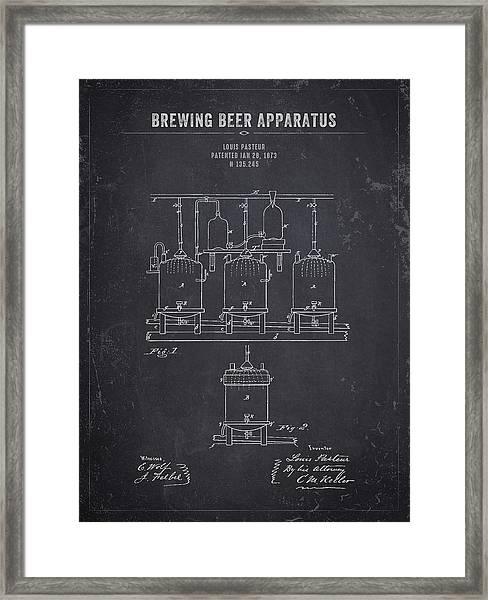 1873 Brewing Beer Apparatus - Dark Charcoal Grunge Framed Print