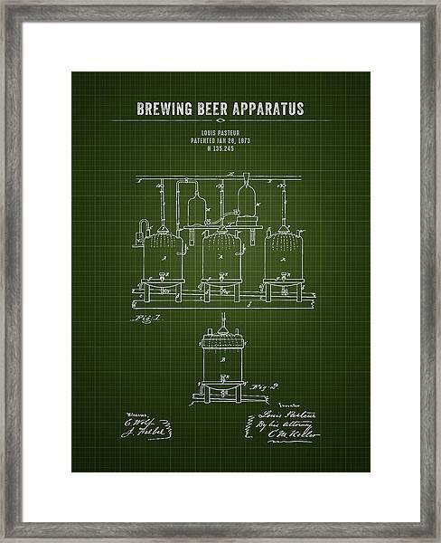 1873 Brewing Beer Apparatus - Dark Green Blueprint Framed Print