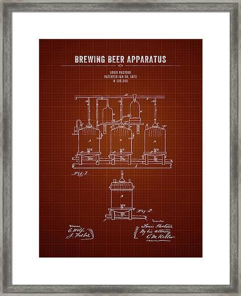 1873 Brewing Beer Apparatus - Dark Red Blueprint Framed Print