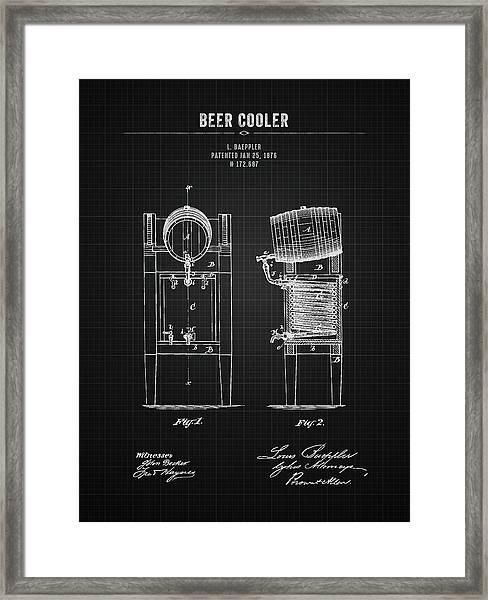 1876 Brewing Cooler - Black Blueprint Framed Print