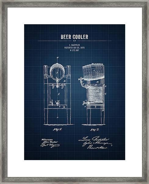 1876 Brewing Cooler - Dark Blue Blueprint Framed Print