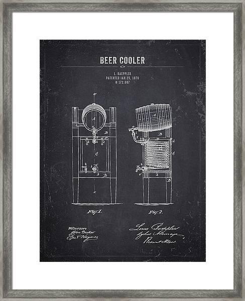 1876 Brewing Cooler - Dark Charcoal Grunge Framed Print
