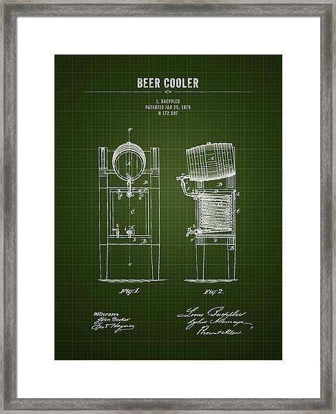 1876 Brewing Cooler - Dark Green Blueprint Framed Print