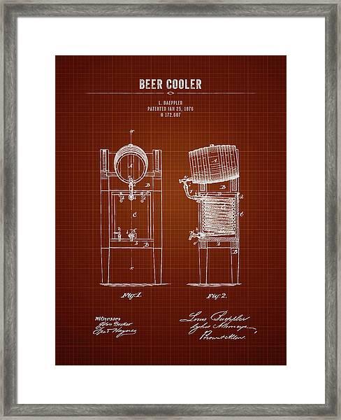 1876 Brewing Cooler - Dark Red Blueprint Framed Print