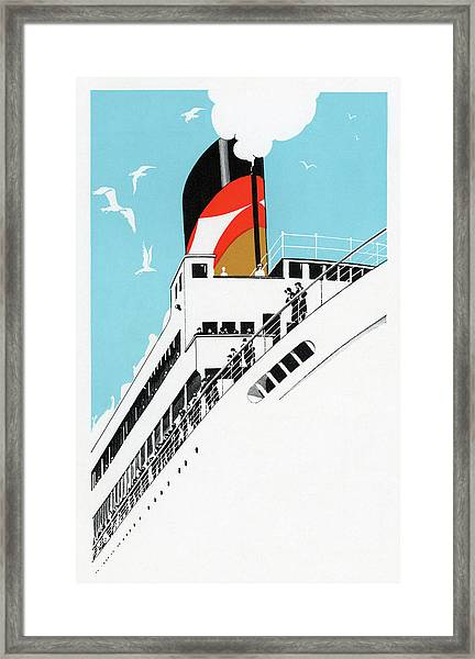 1920s Cruise Ship Framed Print by Graphicaartis