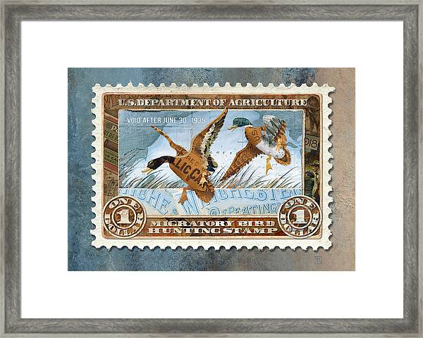 Framed Print featuring the mixed media 1934 Hunting Stamp Collage by Clint Hansen