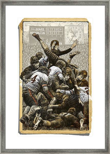 Framed Print featuring the drawing 1940 Chicago Bears by Clint Hansen