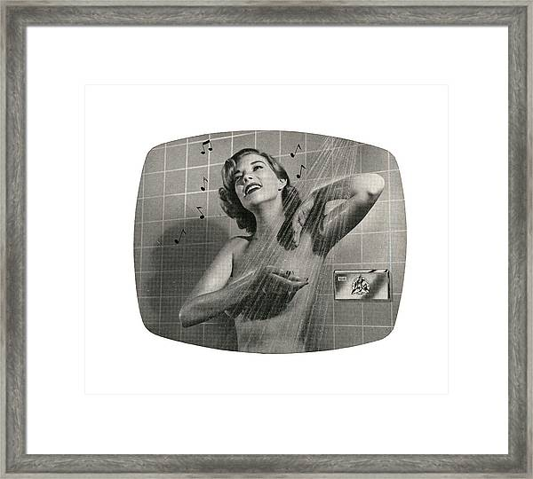 1950s Woman Singing In Shower Framed Print