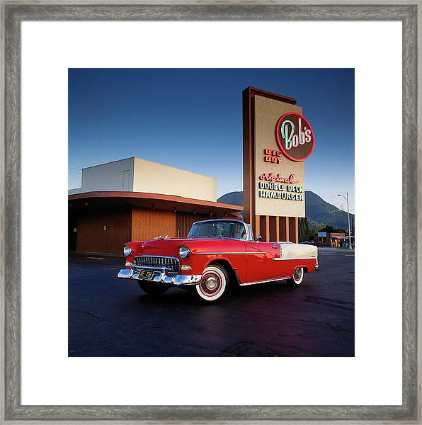 1955 Chevrolet Bel Air Convertible At Framed Print