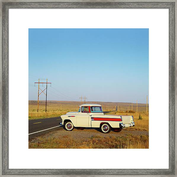 1957 Chevrolet Cameo Pick Up Truck On Framed Print