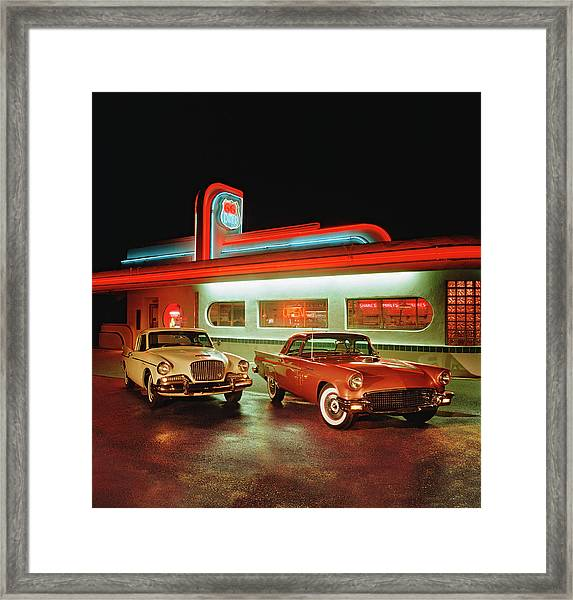 1960 Studebaker Hawk And 1957 Ford Framed Print