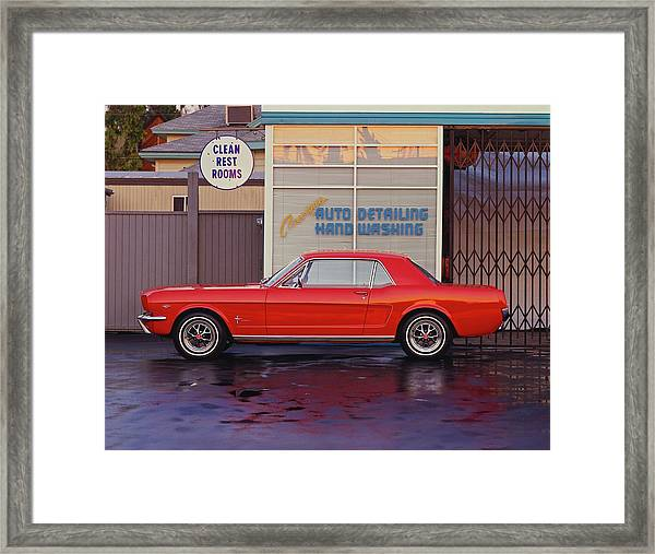 1964 12 Ford Mustang Coupe At Billys Framed Print by Car Culture