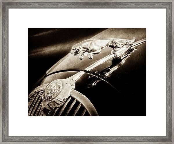 1964 Jaguar Mk2 Saloon Hood Ornament And Emblem-1421bscl Framed Print