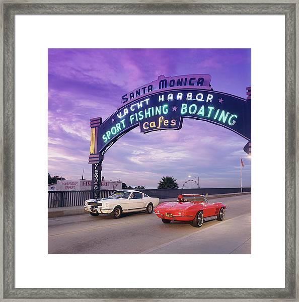 1966 Shelby Gt 350 & 1966 Chevrolet Framed Print