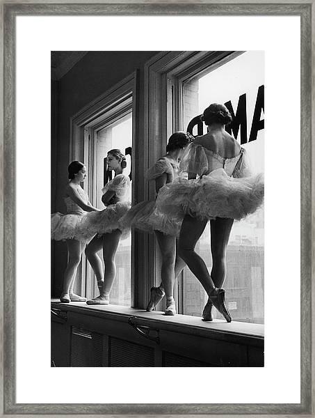 Ballerinas Standing On Window Sill In Framed Print
