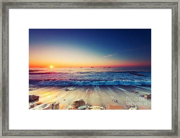 Beautiful Sunrise Over The Horizon Framed Print