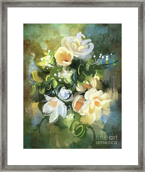 Bouquet Of Flowers,digital Framed Print by Tithi Luadthong