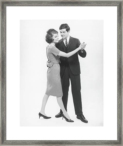 Couple Dancing In Studio, B&w Framed Print by George Marks
