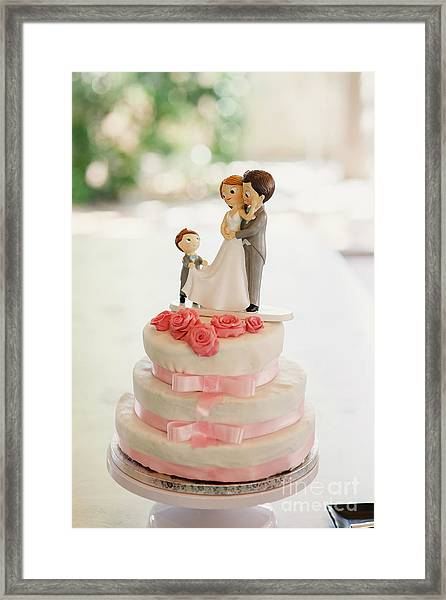 Desserts And Wedding Cake With Very Sweet Cupcakes At An Event. Framed Print