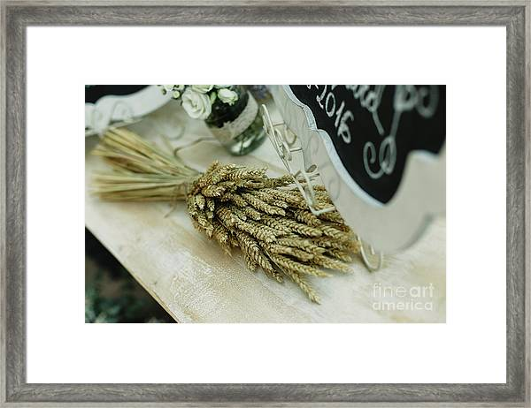 Floral Decorations In The Spaces Of A Wedding Restaurant. Framed Print