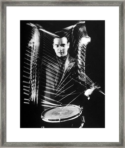 Gene Krupa Framed Print by Gjon Mili