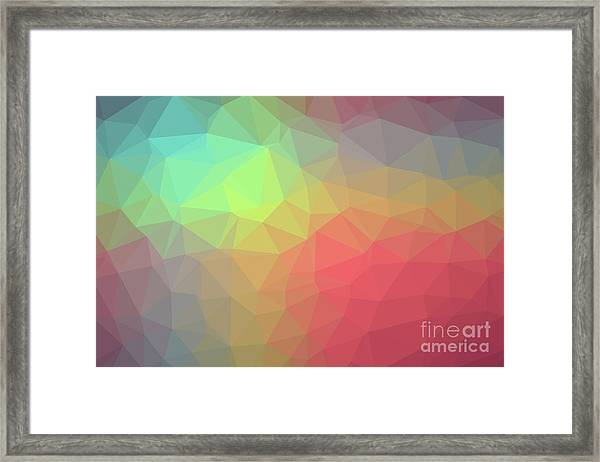 Gradient Background With Mosaic Shape Of Triangular And Square C Framed Print