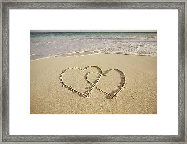 2 Hearts Drawn On The Beach Framed Print