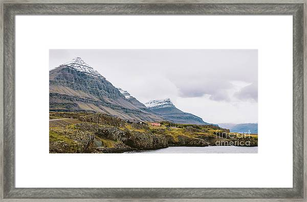High Icelandic Or Scottish Mountain Landscape With High Peaks And Dramatic Colors Framed Print