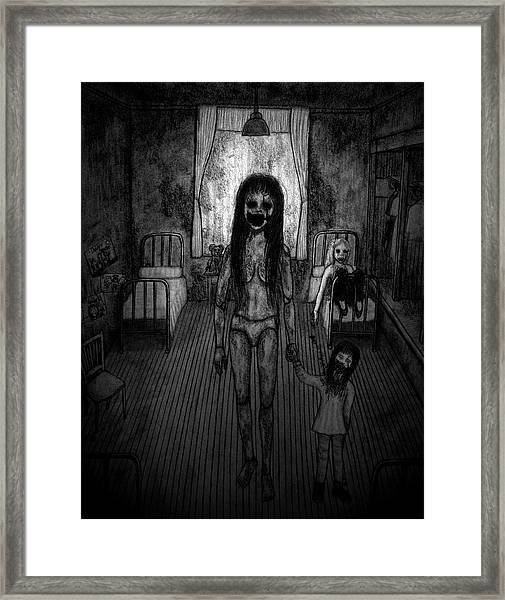 Jessica And Her Broken Doll - Artwork Framed Print