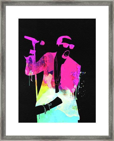 Kanye Watercolor Framed Print