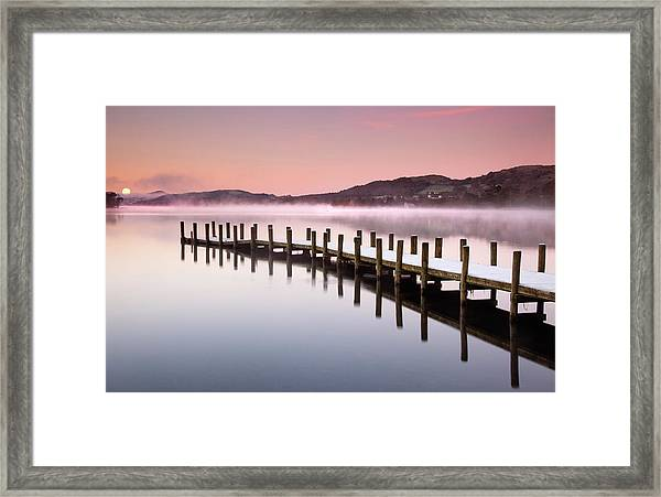 Landing Jetty On Conniston Water, Lake Framed Print