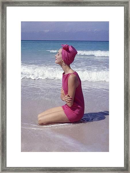 Model On The Beach Framed Print