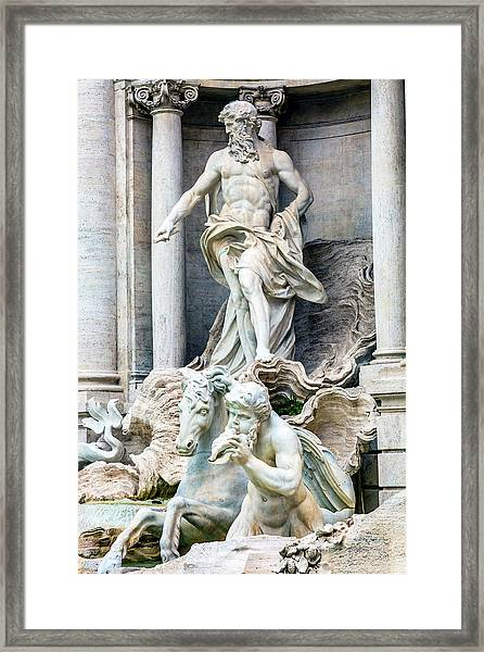 Neptune, Nymphs, Seahorse Statues Framed Print by William Perry