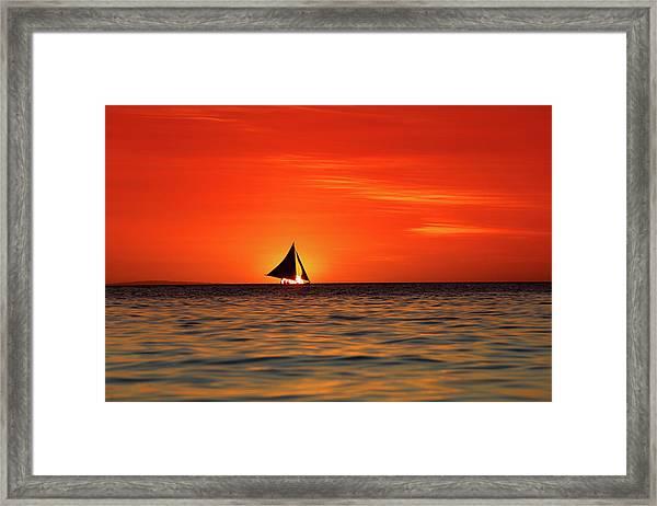 Sailing Sunset Framed Print