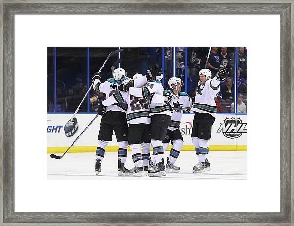 San Jose Sharks V St. Louis Blues - Framed Print by Dilip Vishwanat