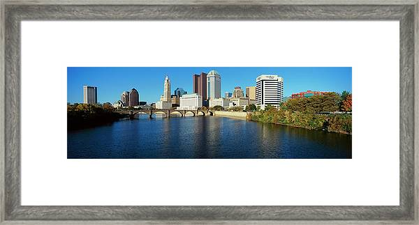 Scioto River And Columbus Ohio Skyline Framed Print by Visionsofamerica/joe Sohm