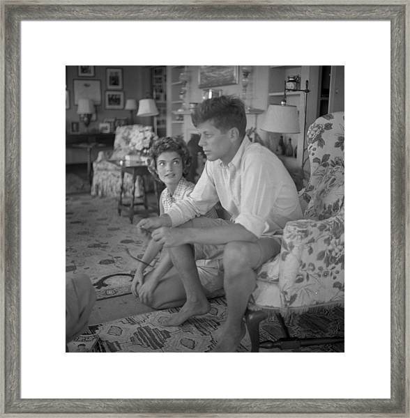 Senator Kennedy Goes A Courting Framed Print by Hy Peskin Archive