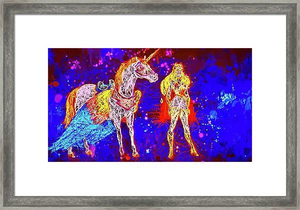 She - Ra And Swift Wind Framed Print