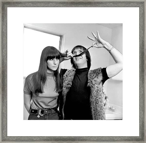Sonny & Cher Portrait Session Framed Print by Michael Ochs Archives