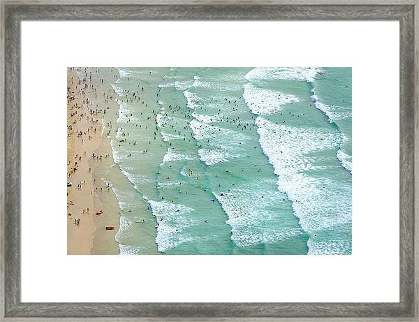 Swimmers And Surfers On Beach, Aerial Framed Print