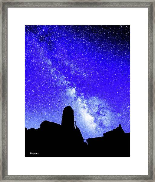 The Milky Way Over The Crest House Framed Print