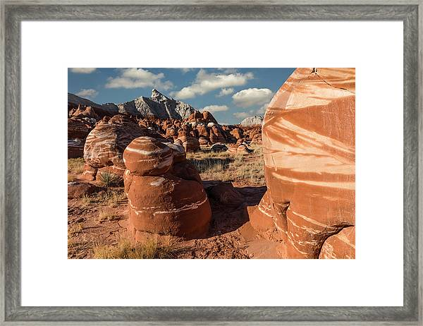Unique Hoodoo Formations Of Blue Canyon Framed Print by Adam Jones