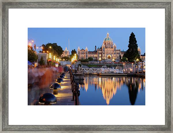 Victoria At Night Framed Print by S. Greg Panosian