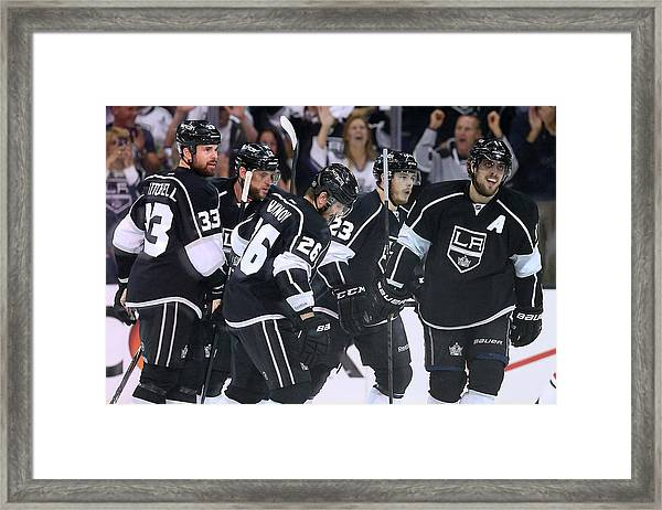 Chicago Blackhawks V Los Angeles Kings Framed Print by Jeff Gross