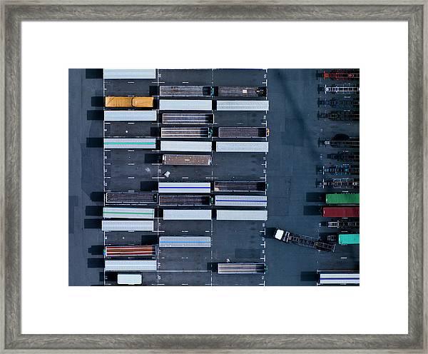 Down Shot Of Highway Framed Print