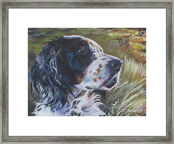 English Setter In The Field Framed Print