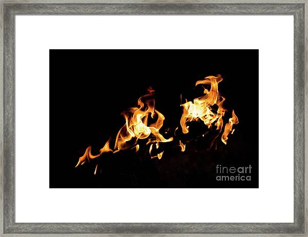Flames In The Fire Of A Red And Yellow Barbecue. Framed Print