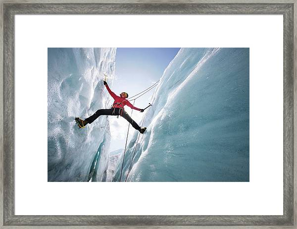 Man Ice Climbing, Pasterze Glacier Framed Print