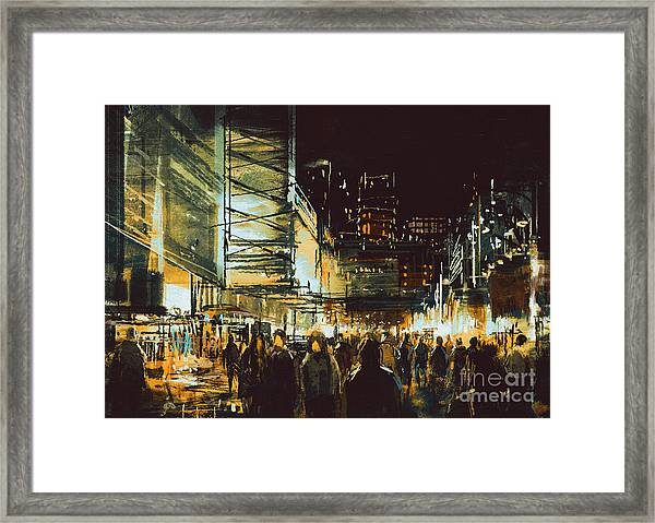 Painting Of Shopping Street City With Framed Print